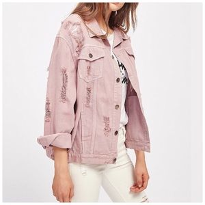 Arizona Pink Ripped Distressed Denim Jacket Med